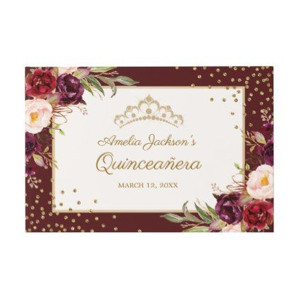Burgundy floral sparkle quinceanera guest book burgundy floral sparkle quinceanera guest book birthday cards invitations party diy personalize customize celebration bookmarktalkfo Gallery