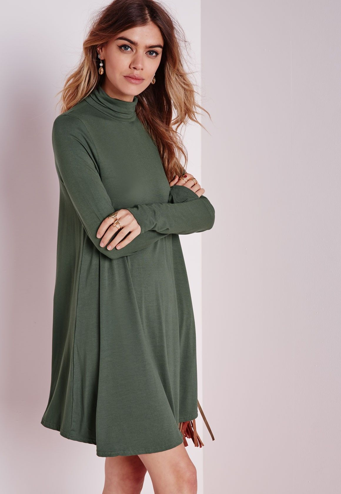 4f96d69039d4 Missguided - Roll Neck Long Sleeve Jersey Swing Dress Khaki