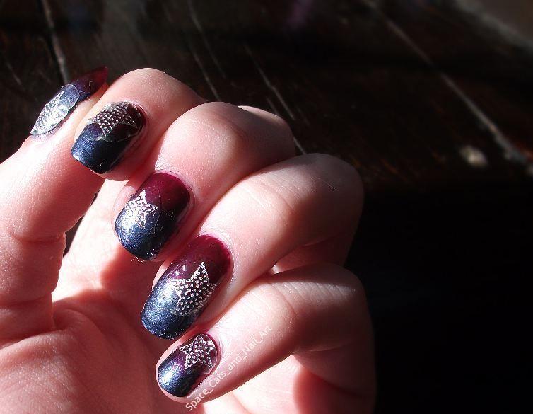 Gradient star sticker nails Base coat - Essie first base base coat ...