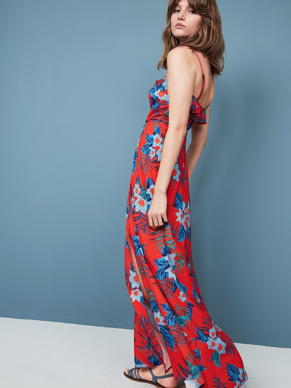 RED TROPICAL FRILL MAXI #DRESS | (D)resses | Pinterest