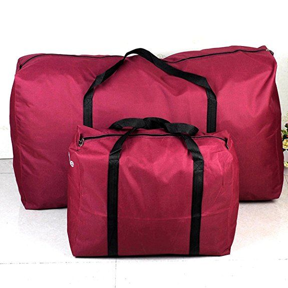 Uname Set Of 2 Extra Large Jumbo Zippered Storage Bag Moving Bag Laundry Bag Bed Sheets Packing Bag Two Size Big And Small Burgundy Unc Bag Storage Laundry Bag