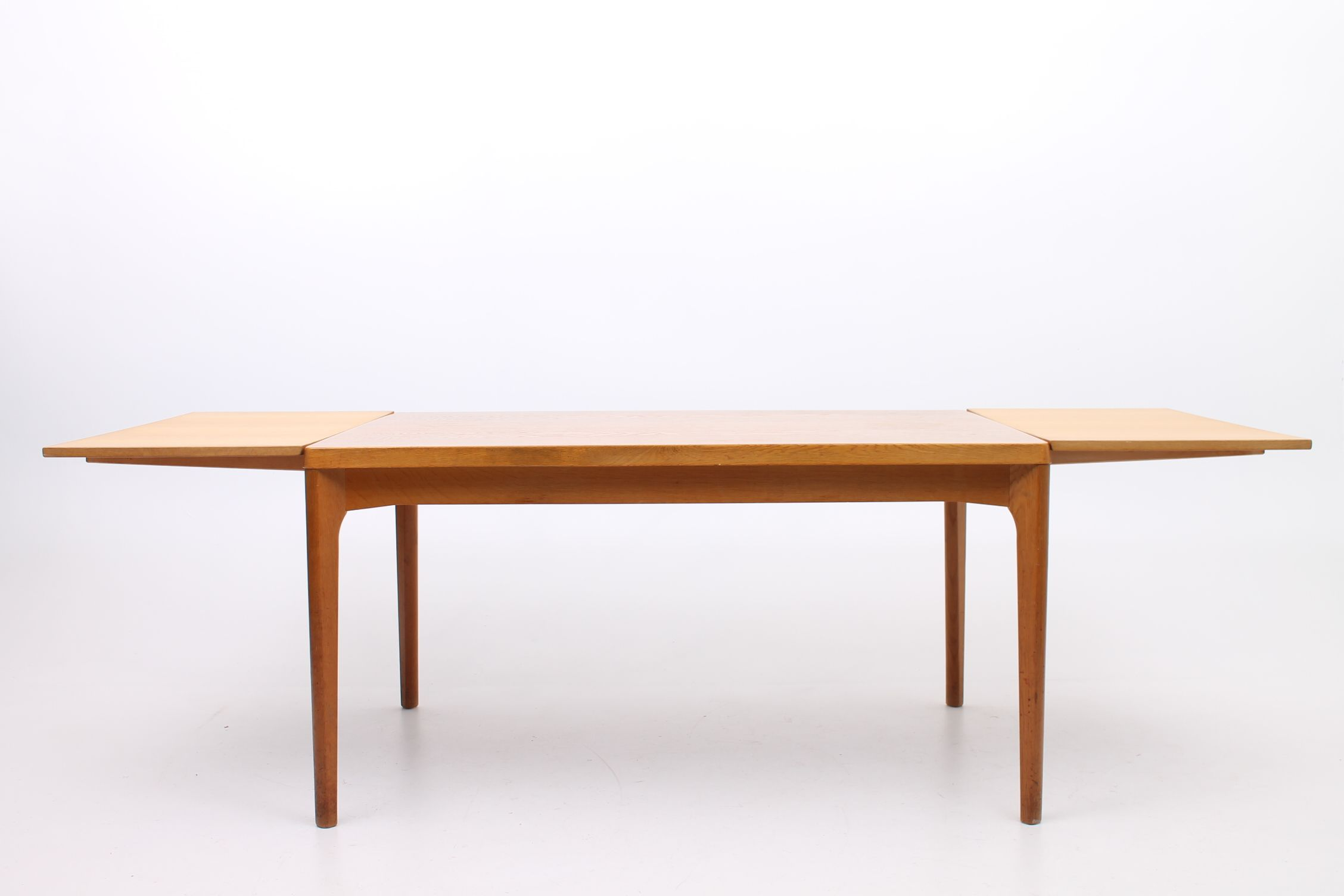 Dining Table With Two Hidden Extensions In Oak Tabletop Is Lacquered Are Unlacquered