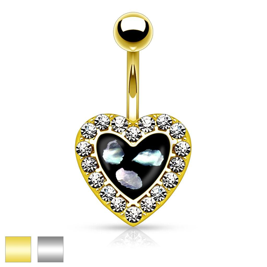 Crystal Paved Heart with Mother of Pearl Inlaid Center 316L Belly Button Rings, Women's