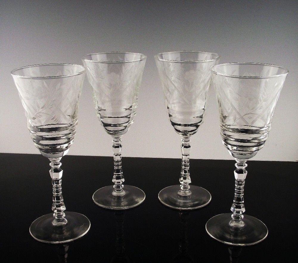 Libbey Rock Sharpe Water Large Wine Glasses Ca 1940 S Crystal Stemware Wine Glasses Libbey