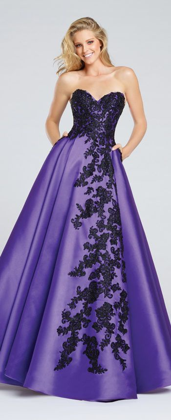 Beautiful Purple Dress With Black Flower Accents By Ellie Wilde