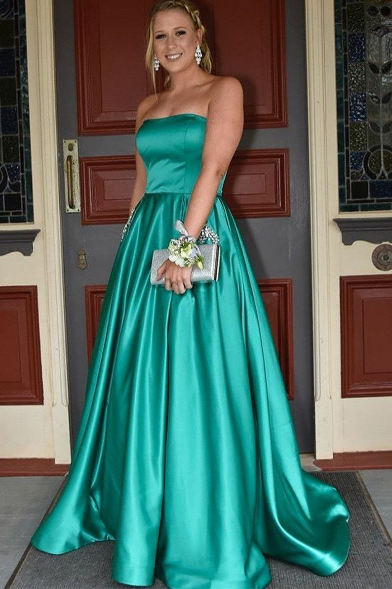 2020 elegant a line elastic satin jade strapless prom