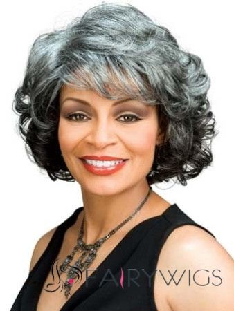 The Fresh Short Wavy Gray African American Lace Wigs For