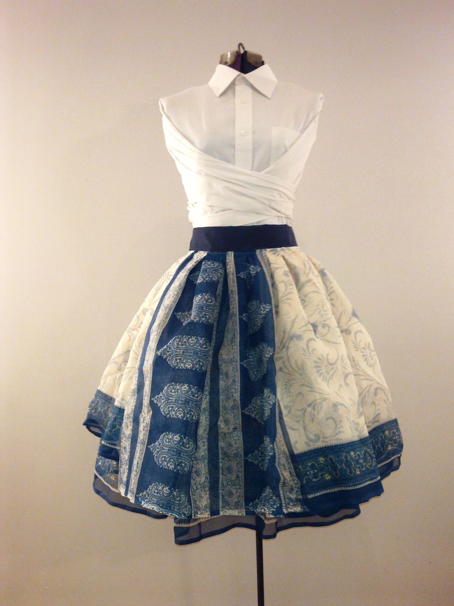 Pleated wrapped skirt made from a Sari | Recycled sari ...