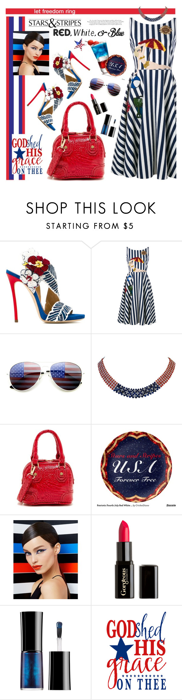 """Happy Independence Day - RED, WHITE & BLUE"" by esch103 ❤ liked on Polyvore featuring Dsquared2, Dolce&Gabbana, Marina J., Smashbox, Gorgeous Cosmetics and Giorgio Armani"