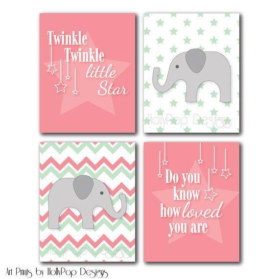 Girl Nursery Wall Art Pink Chevron Wall Decor Pink Baby Girl Art Prints For