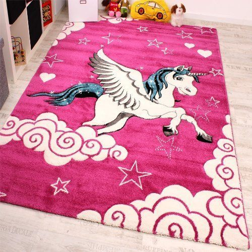 Pink Unicorn Rug Mat Animal Horse Pony Modern Carpet Girl Kids