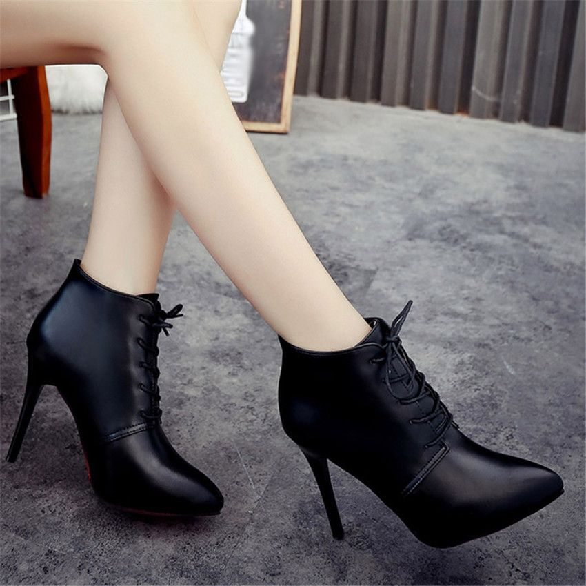 Elegant Womens Lace Up Ankle Boots Pointed Toe Slim High Heel Leather Booties