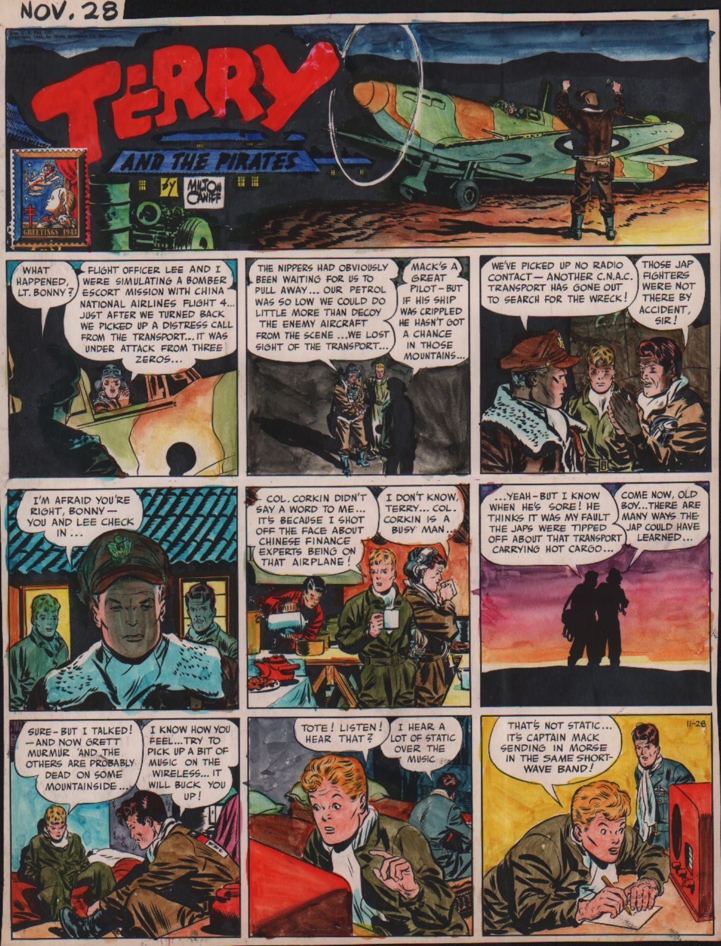 Terry And The Pirates Color Sheet Nov 28 1943 By Milton Caniff Fantasy Comics Comic Illustration Newspaper Comic Strip