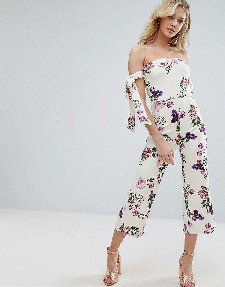 502994d8af3 OH MY LOVE BARDOT JUMPSUIT WITH TIE SLEEVES IN FLORAL PRINT - WHITE.   ohmylove  cloth