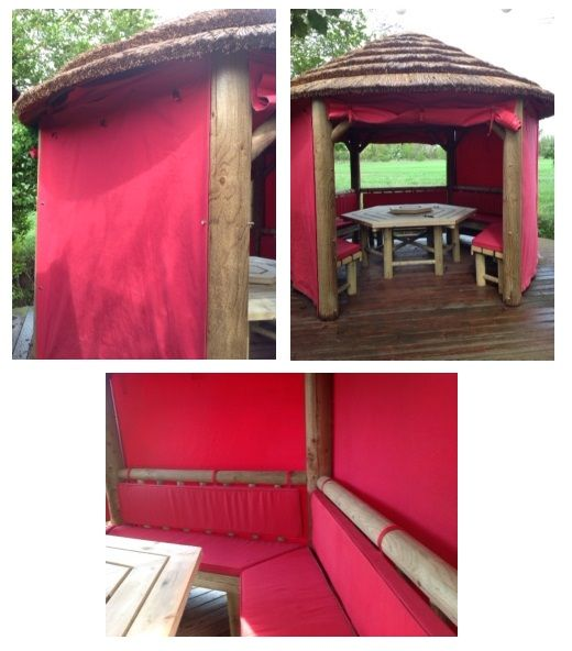 Using our turnbutton eyelets and bases our customer was able to turn an ourdoor platform into a lovely gazebo hideaway.