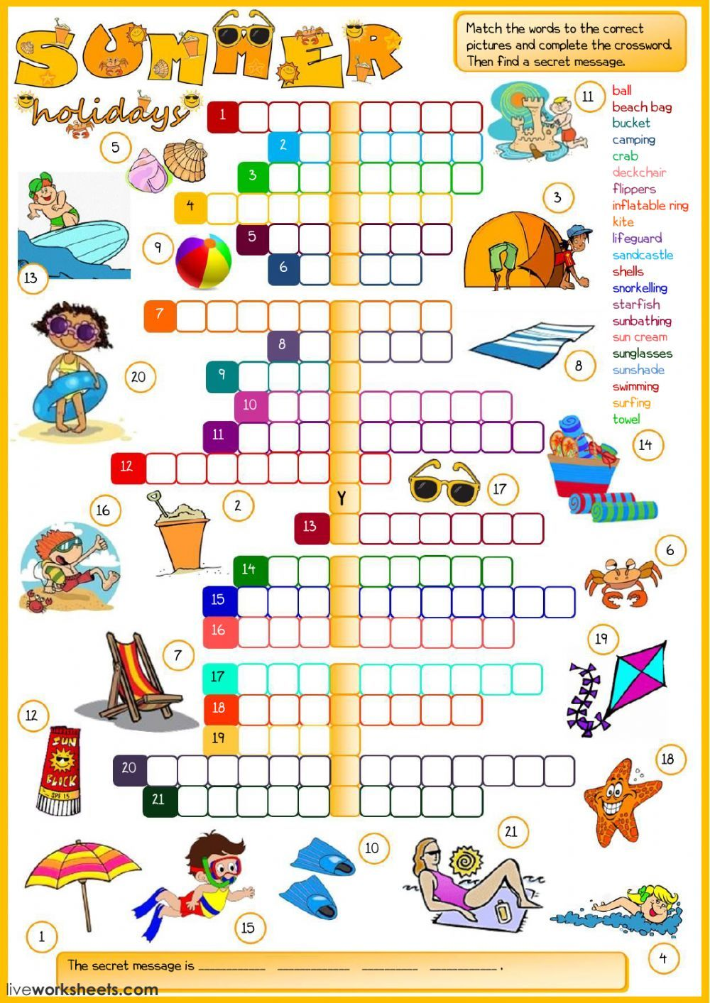 summer vocabulary interactive and downloadable worksheet