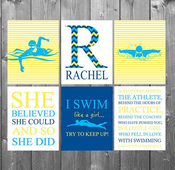 Swimming Pool Decor, Gifts For Swimmers, Girls Bedroom Decor, Girls Wall  Art,