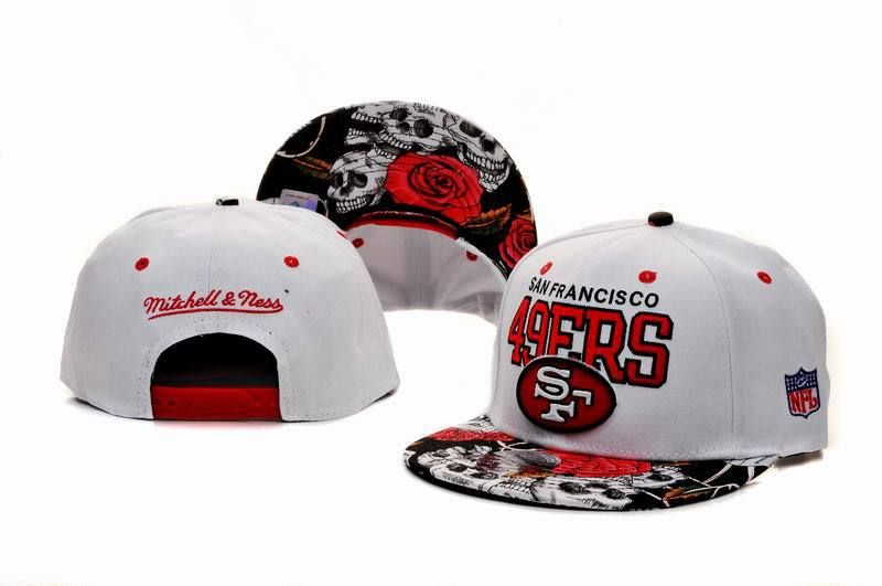 ff321c17f7946 San Francisco 49ers Snapback Mitchell And Ness White Flower 7444 ...