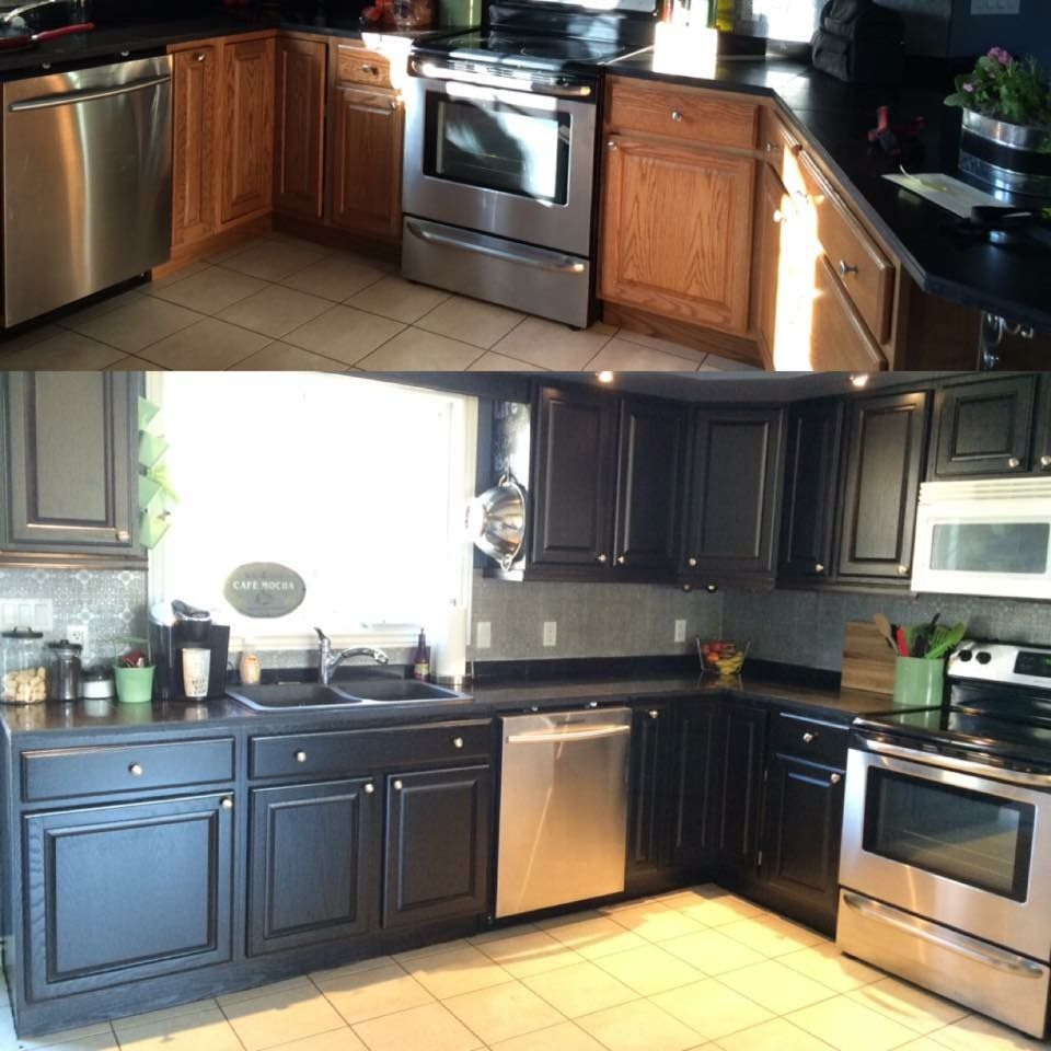 Honey oak cabinets, washed and 3 coats of minwax ...