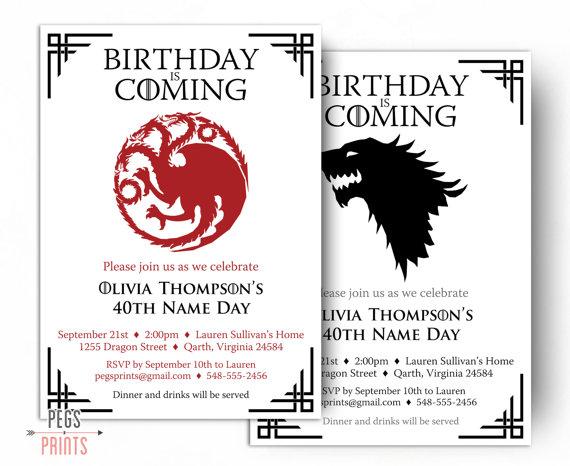 Dragon Birthday Invitation Wolf Birthday Invitation Game Of Thrones Bir Game Of Thrones Birthday Dragon Birthday Invitations Printable Birthday Invitations