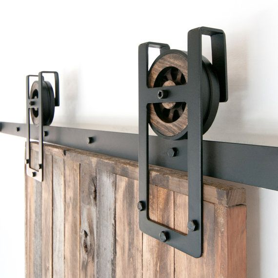 Rustic Industrial European Square Horseshoe Sliding Steel Barn Wood - portes de placard coulissante