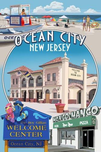 Ocean City New Jersey Montage Lantern Press Artwork 24x36 Gallery Quality Metal Art Multi Ocean City Ocean City Nj New Jersey