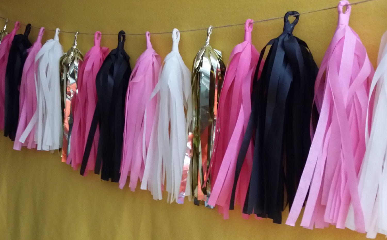 Only 14.99, 20 Tassel Tissue Paper Garland, Minnie Mouse, Wedding Decoration, Birthday Party Decoration, Fringe, Poms, Pink, Balloon Tassels