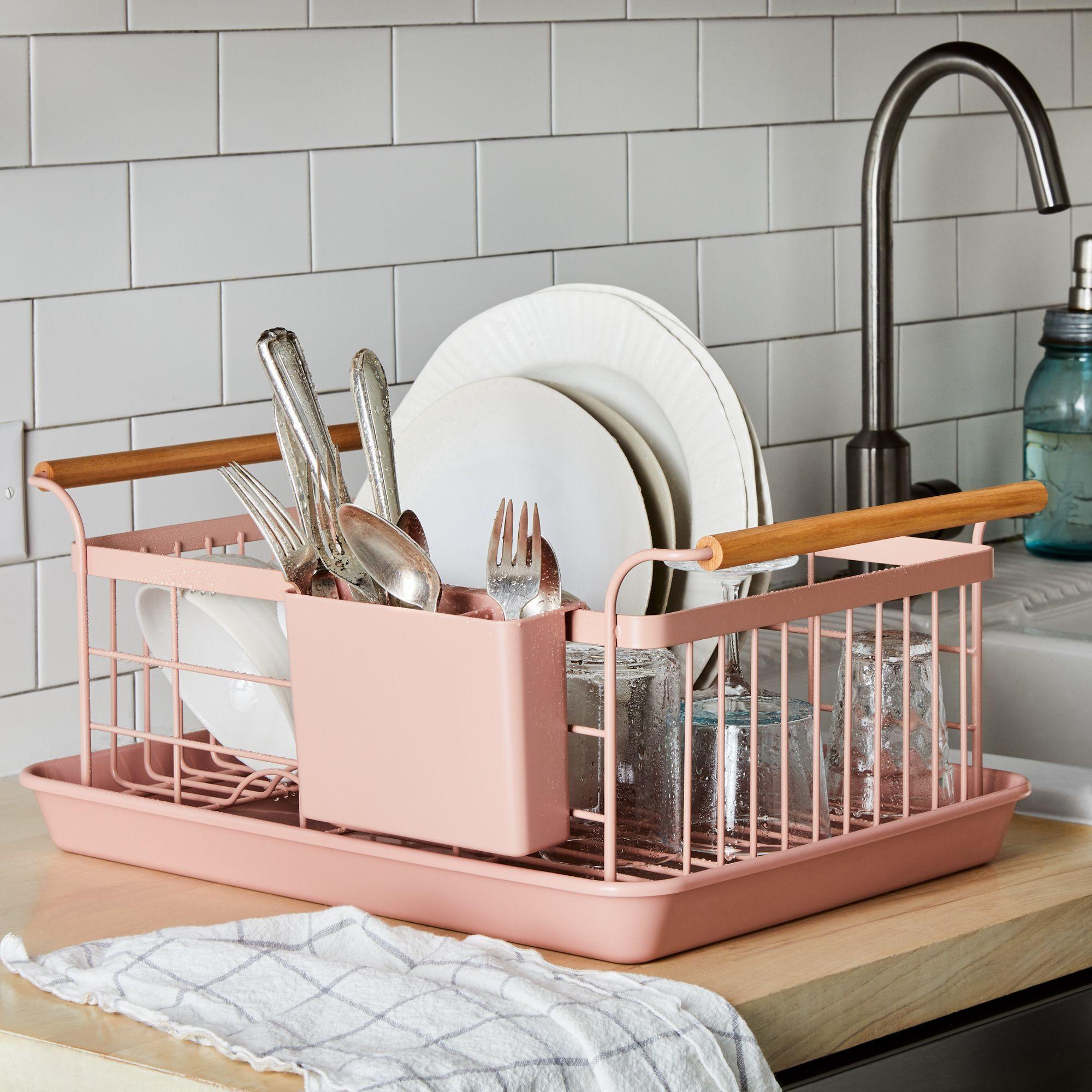 Wood-Handled Dish Rack in Blush