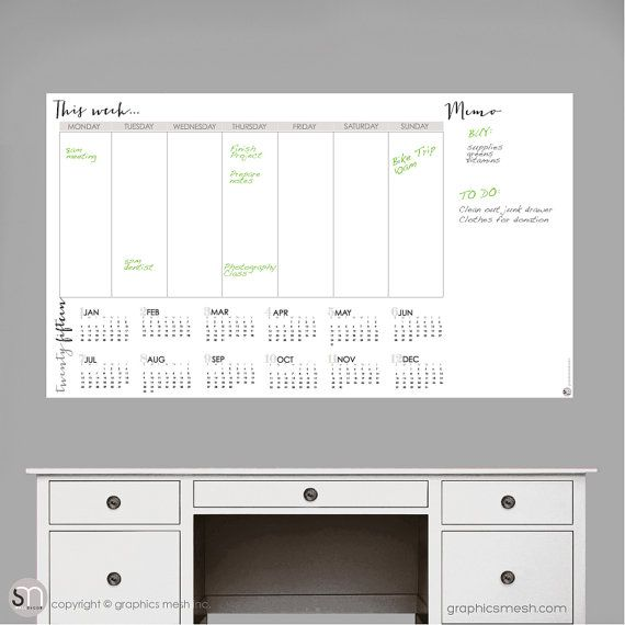 2017 Calendar with Weekly Blank calendar and memo - Dry Erase Wall - blank memo