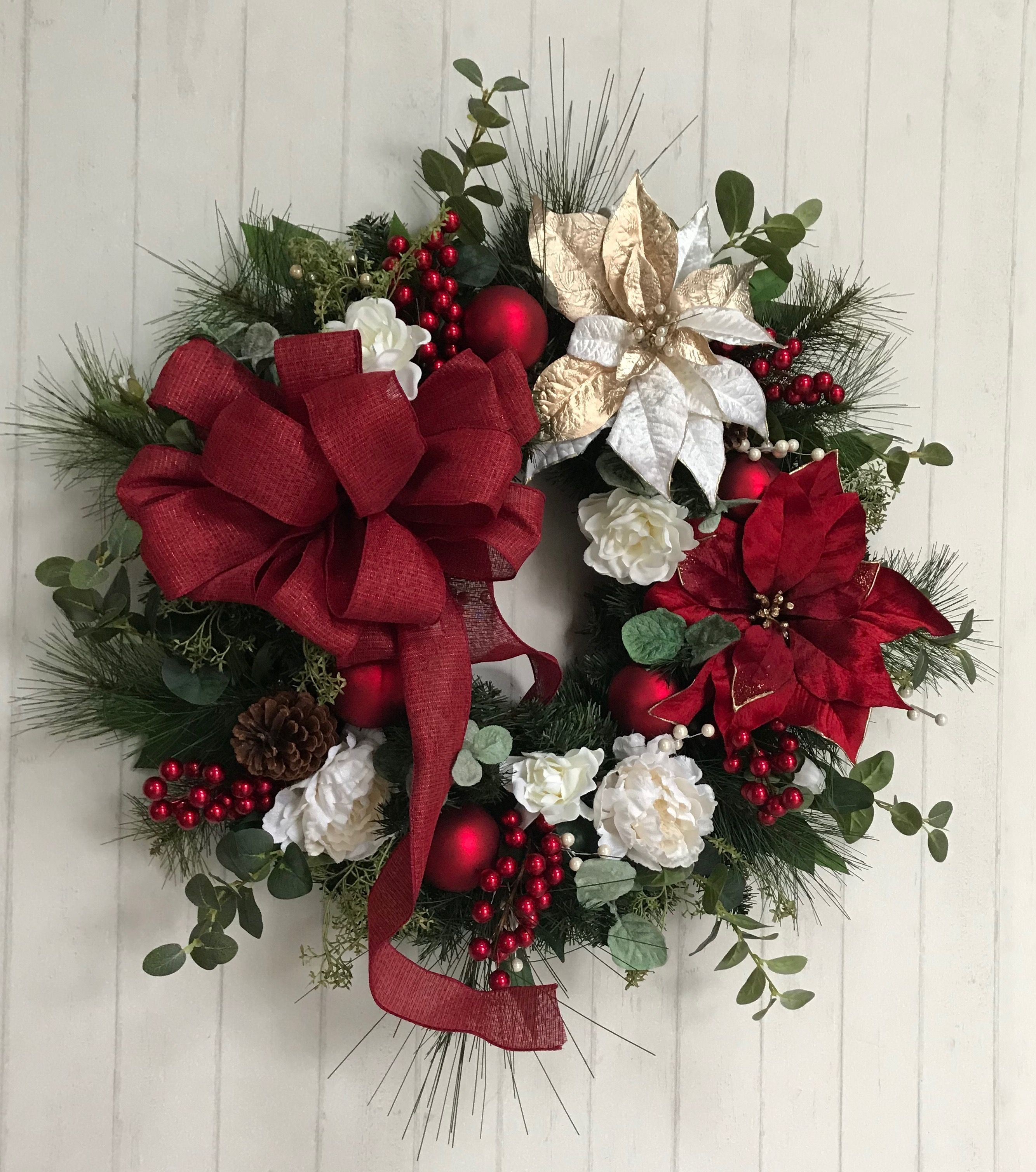 Flower garden gifts on etsy red wreath christmas