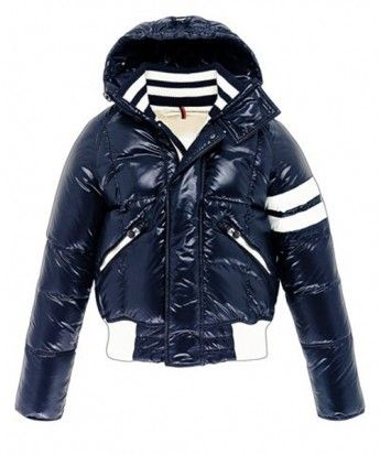 202d8b2417e3 Moncler Leon Down Jackets Mens With Hooded Zip Navy Blue