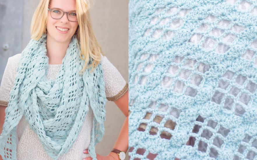 Stylecraft duck-egg wrap - Free Crochet Pattern with chart at ...