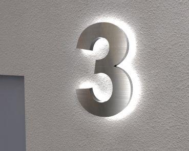Hausnummer Beleuchtet beleuchtete edelstahl hausnummer 3 mit led hintergrundbeleuchtung