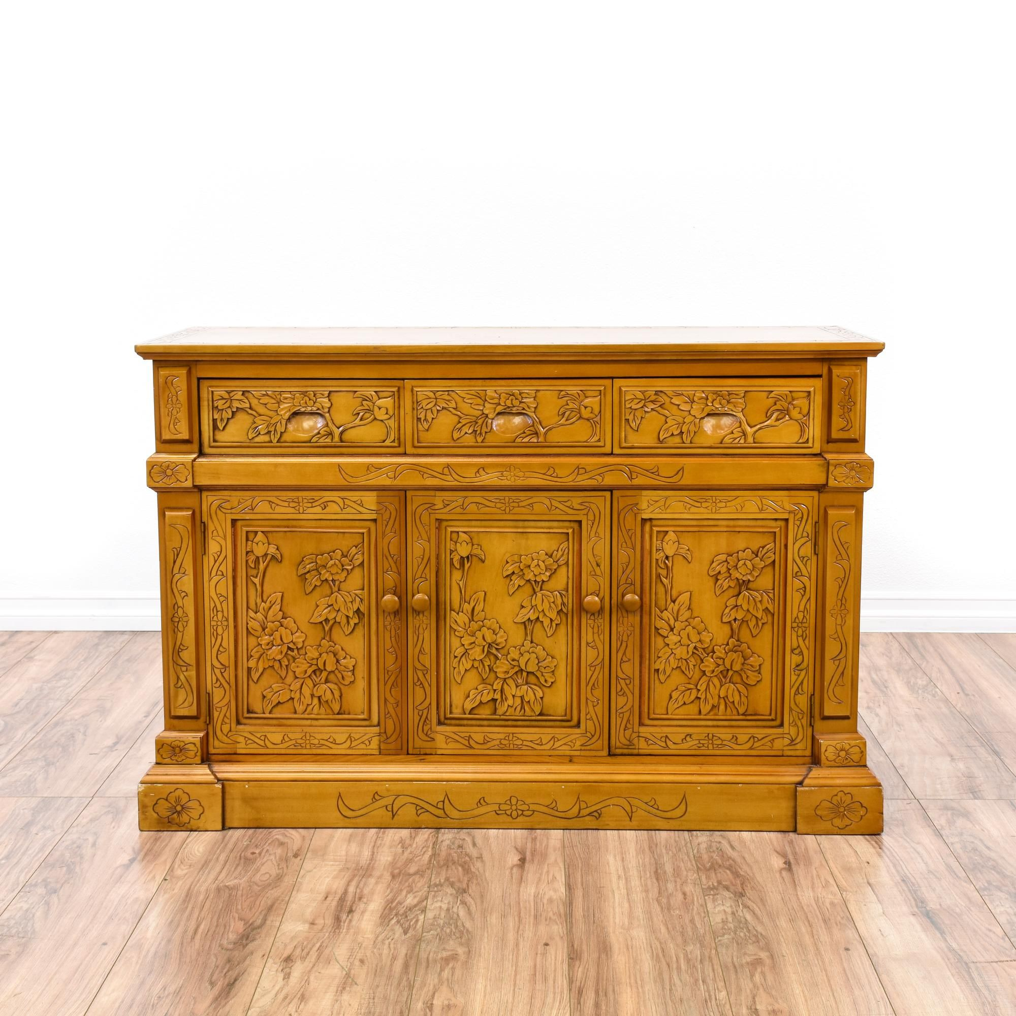 Asian Style Carved Floral Panel Buffet Credenza | Credenza ...
