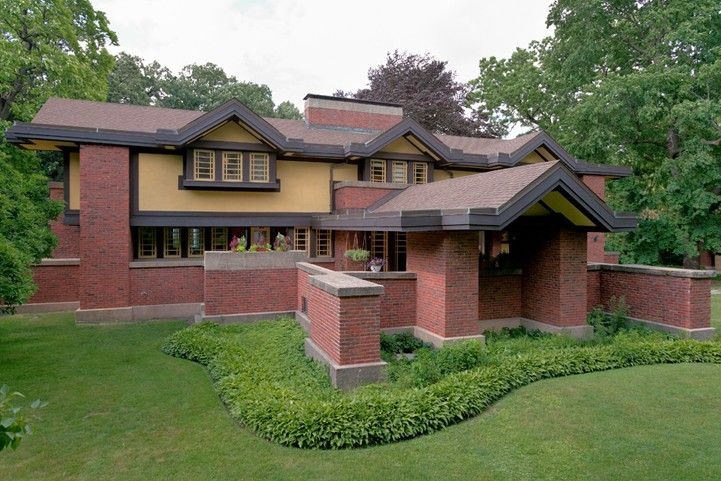 Peter A. Beachy House (Frank Lloyd Wright, 1906). Japanese influence  permeates this distinctive design, situa… | Frank lloyd wright, Architecte,  Franck lloyd wright