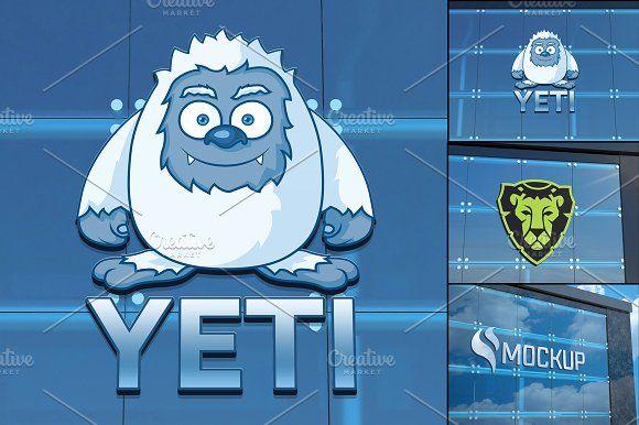 Logo on Building Mockup by pixaroma on @creativemarket Branding - resume yeti