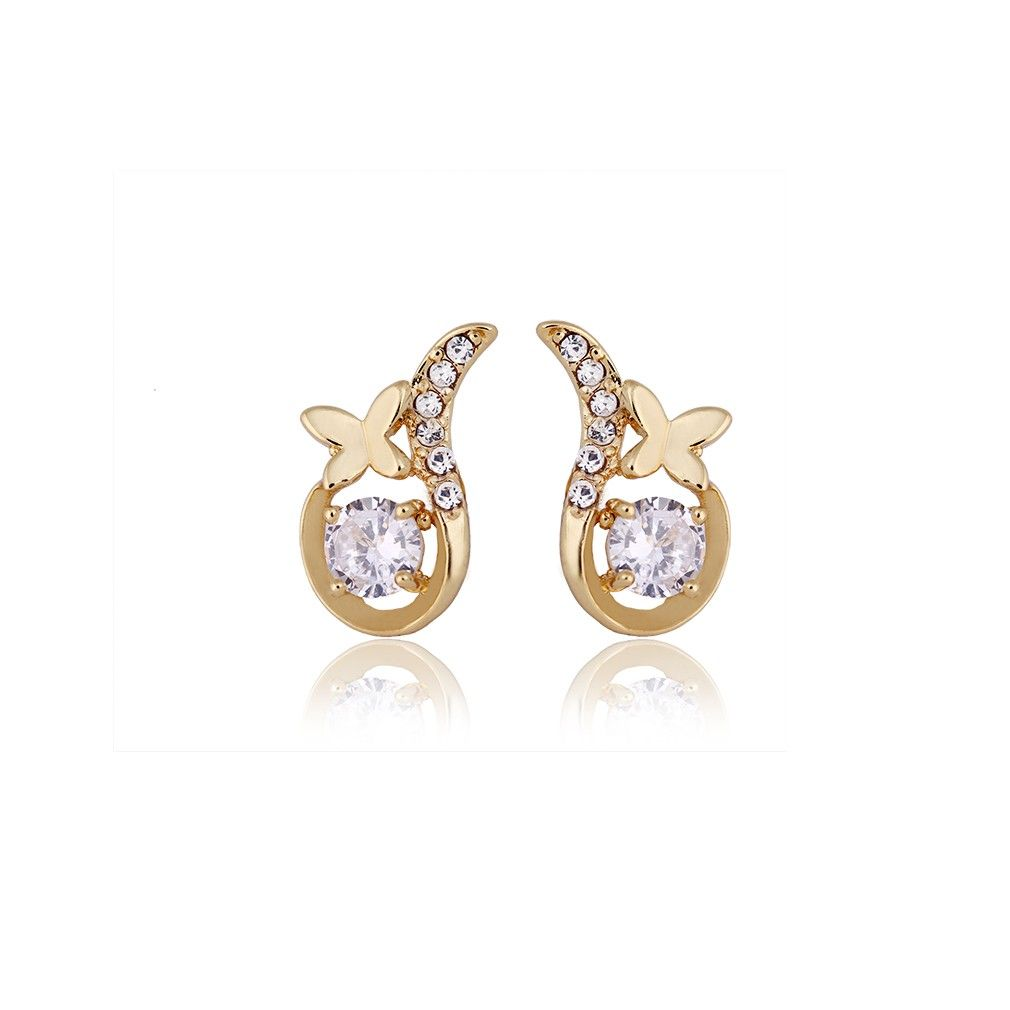 9x11mm Trendy Butterfly Shaped Stud Earring 18K Gold Plated Copper Earring Inlaid White Zircon