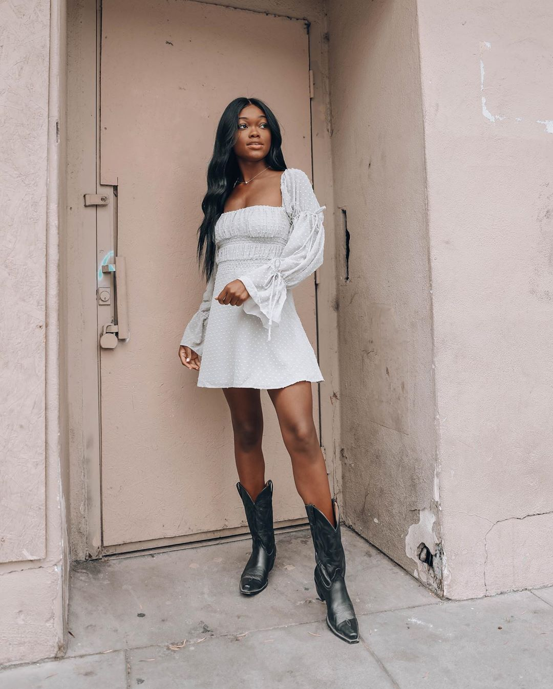 Pinterest Brennastasia Ig Brenna Anastasia Long Sleeve Dress Puff Sleeves Cowboy Boots Summer Outfit Longsleevedress Fashion Outfits Style Outfits [ 1346 x 1080 Pixel ]