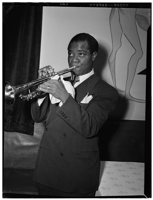 Louis Armstrong, 1940s, photo by William Gottlieb