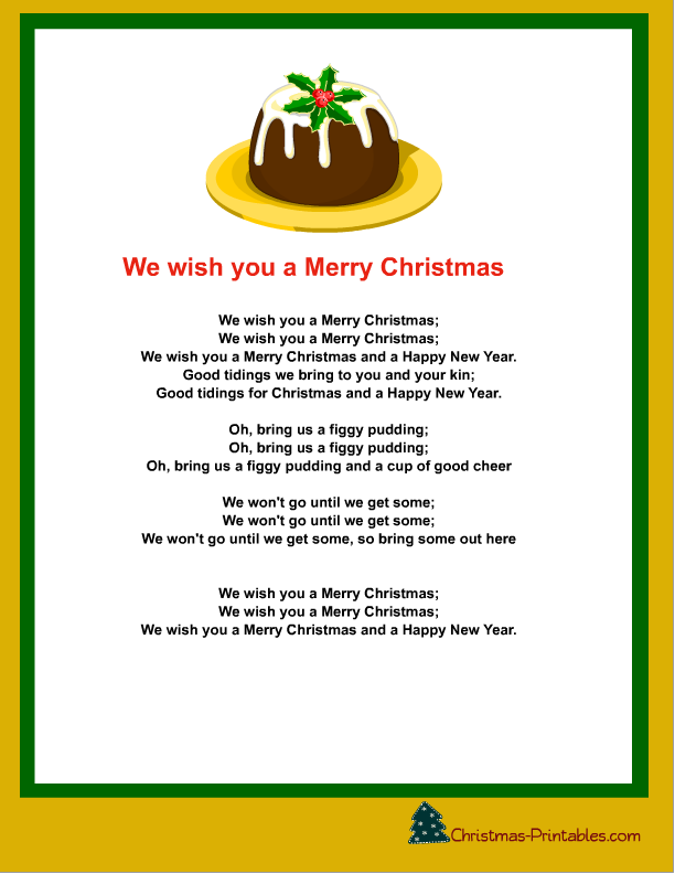 photo relating to Lyrics to We Wish You a Merry Christmas Printable named we need oneself a merry xmas carol printable Cost-free