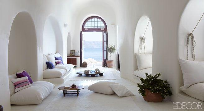 Santorini Greece Cave House Interior Design Elle Decor Home
