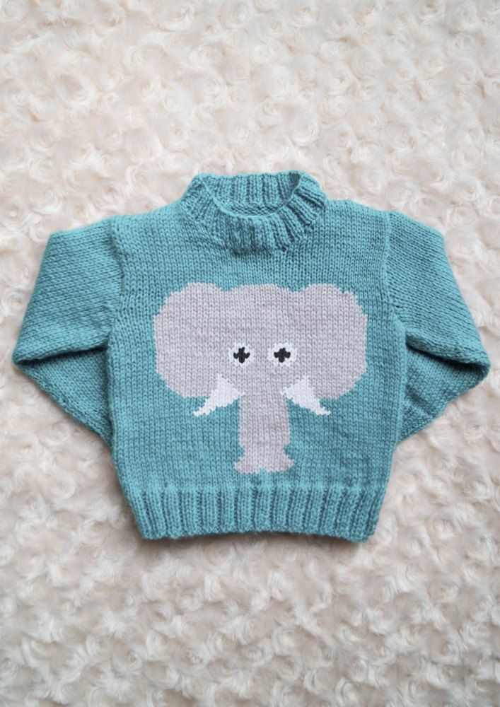 Intarsia - Elephant Face Chart - Childrens Sweater Knitting pattern by Instarsia #childrenssweaters
