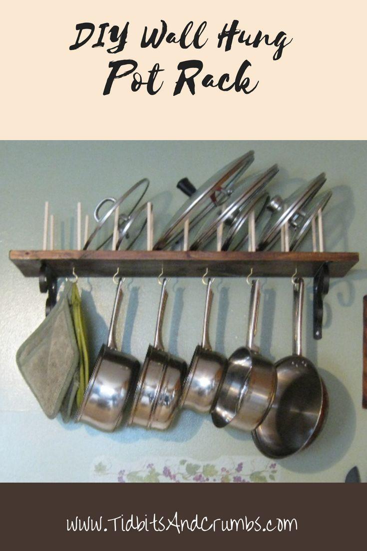 Diy Wall Mounted Pot Rack Kitchen Wall Storage Diy Kitchen Storage Pot Rack