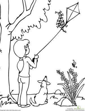 Color The Kite Flying Scene Kites Worksheets And Scene Coloring Pages Kite Flying