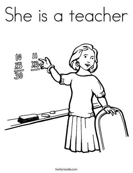 She Is A Teacher Coloring Page People Coloring Pages Free Clip Art Coloring Pages