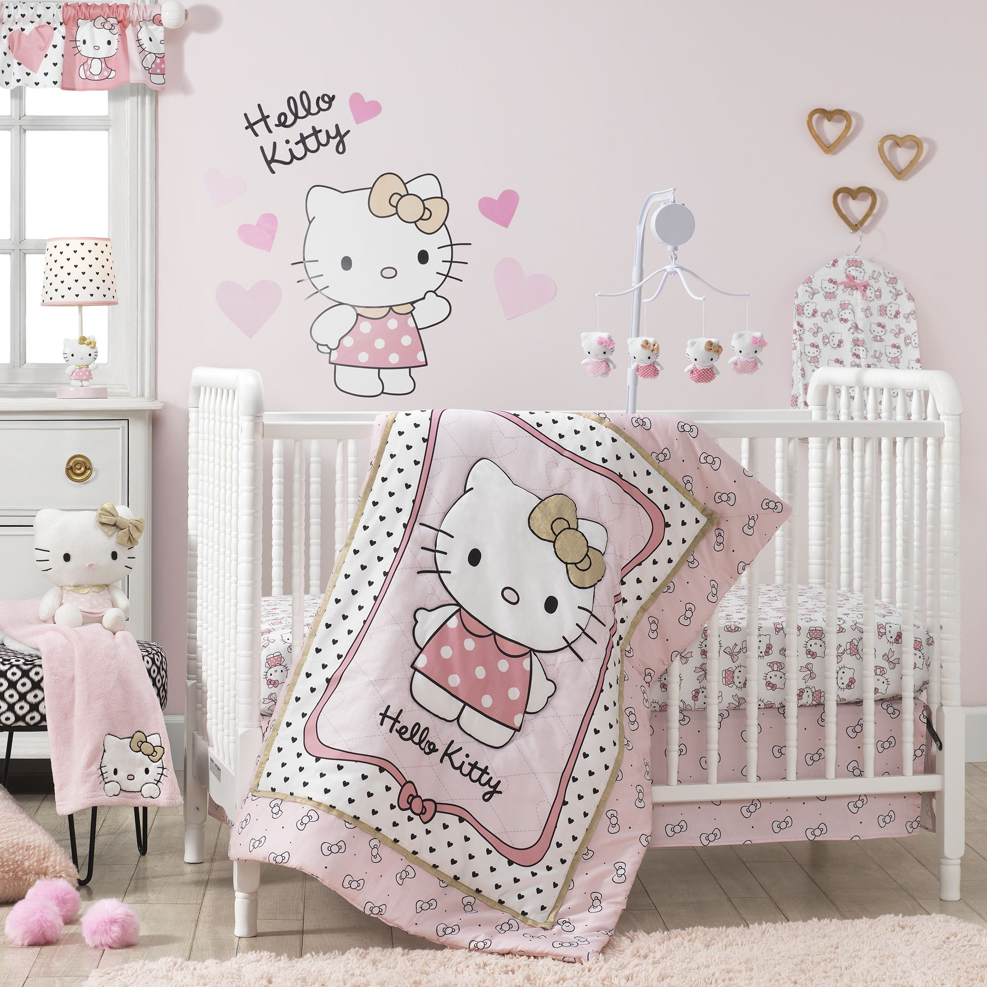 Hello Kitty Luv With Bows Pink White Fitted Baby Crib Sheet Baby