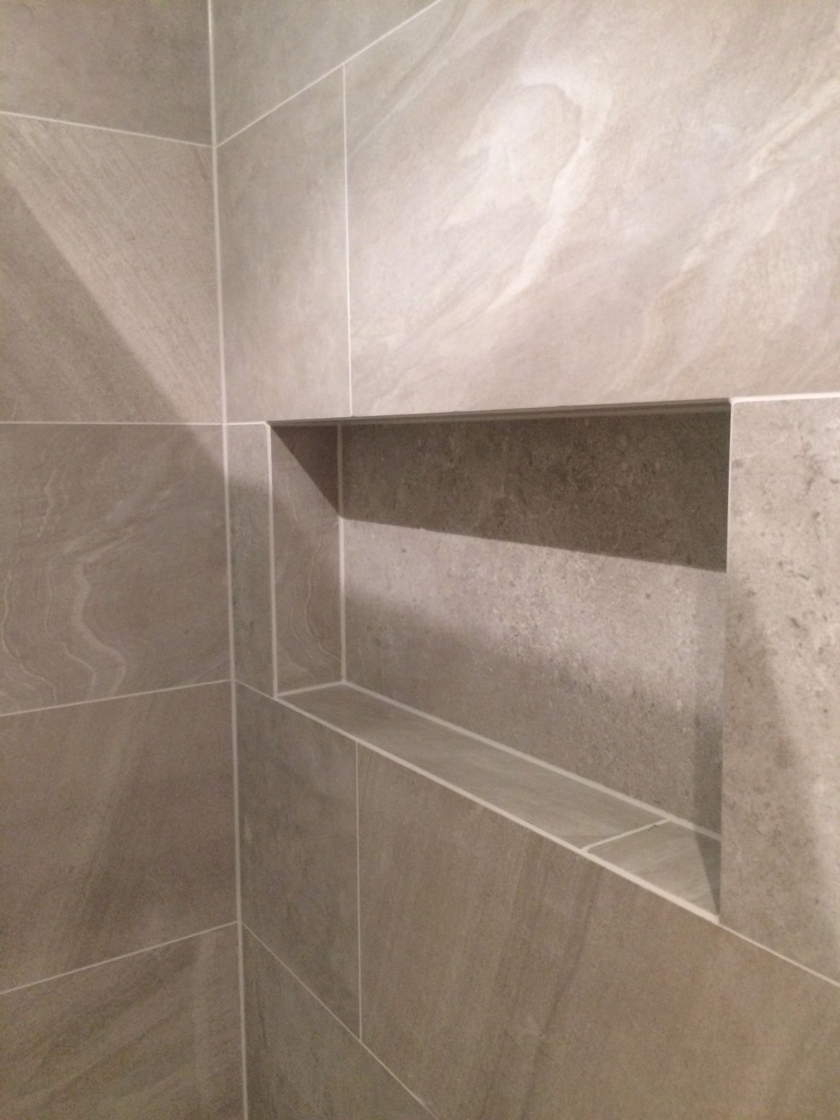 Mitredtiles Around Recessed Niche In Shower Tile Bathroom Shower Niche Shower Shelves