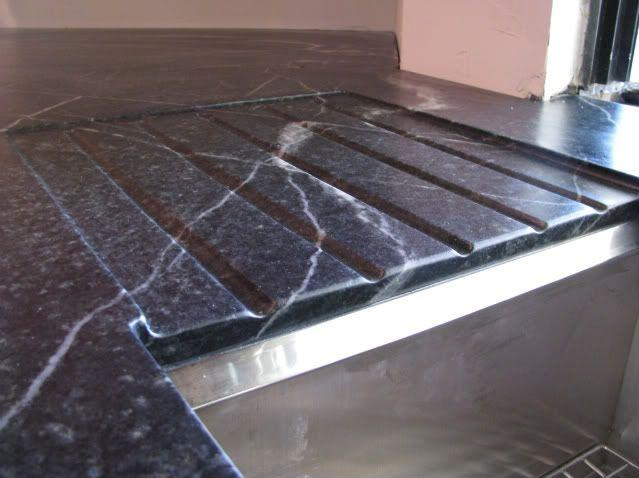 Granite Countertop With Drainboard Carved Into Stone Concrete Kitchen Granite Countertops Countertops