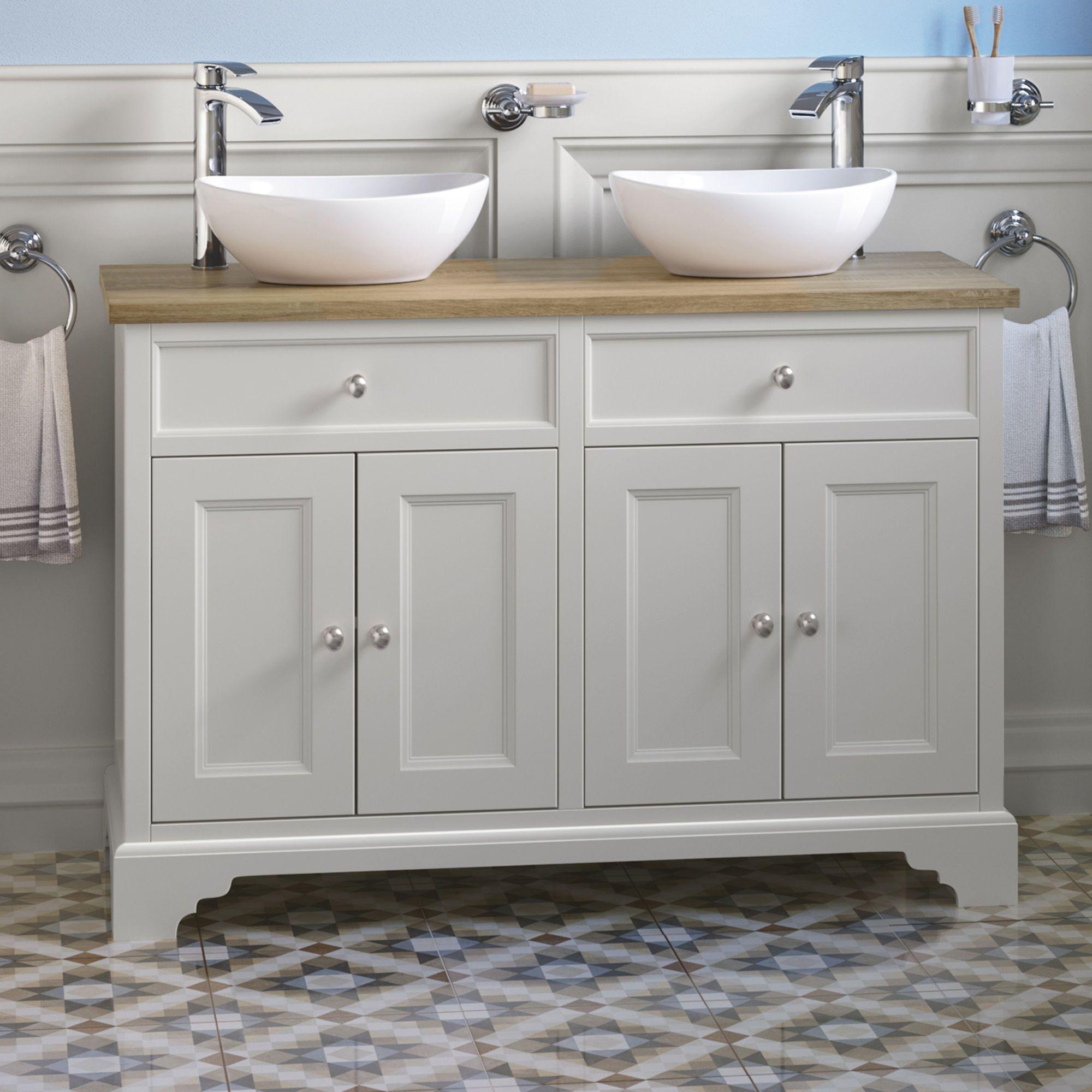 1200mm Loxley Chalk Countertop Unit Double Camila Basin Floor Standing Soak Com Vanity Units Double Vanity Unit Basin Vanity Unit