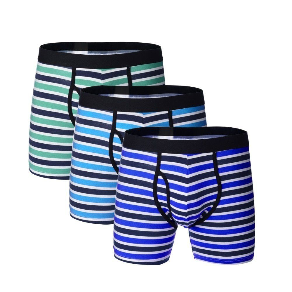 3 Pairs Stripe Pattern Long Boxers New Product on Your Top